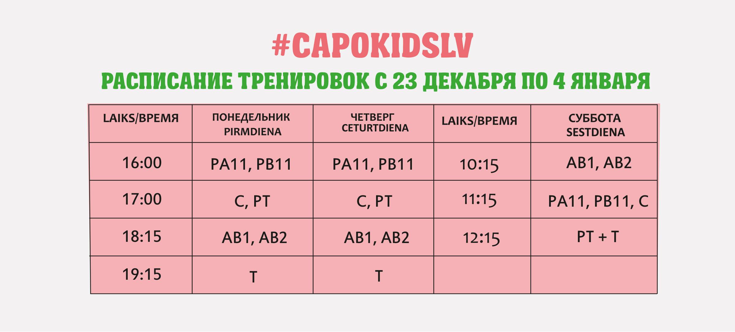 Декабрьские новости Capokids.